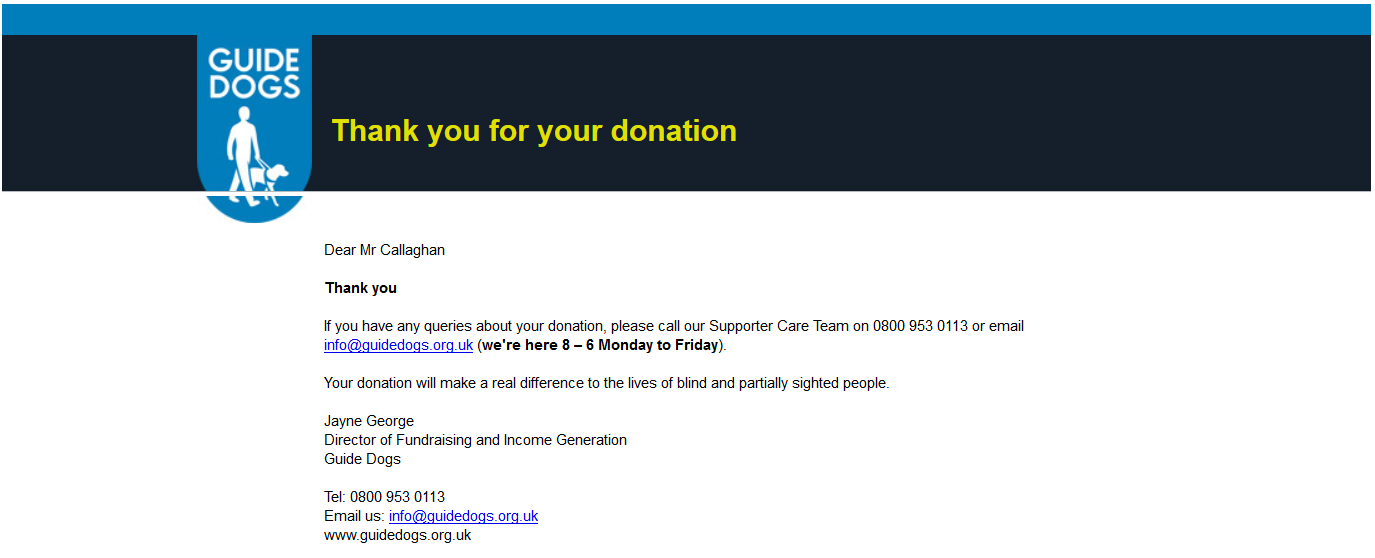 guide dogs donation confirmation